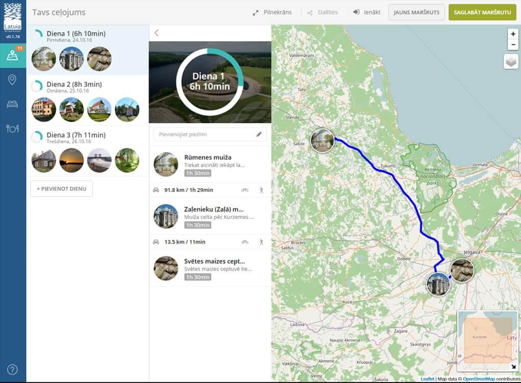 Trip planer mājas lapa